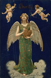 """Charity"" - Angel holding Gold Heart with Cupids Hovering Overhead"