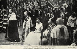 Scene in Westminster Abbey at Coronation of Her Majesty Queen Elizabeth