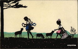 Silhouette of Girls & Lambs in a Meadow