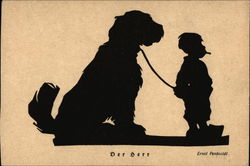 Silhouette of Boy with Large Dog on a Leash