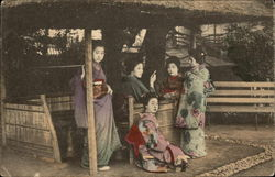 Five Geisha Girls Under Outdoor Hut