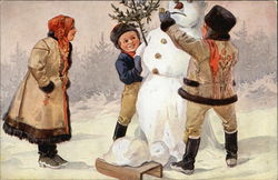 Christmas Greetings - With Family Building Snowman