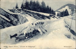 Bobsled Course with Six Men in the Snow