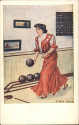 Woman in Long Red Gown Bowling