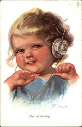 Der ist Drollig - Girl Listening to Radio Headset