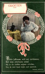 Woman in White Talking on the Telephone
