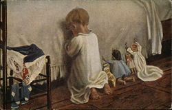 Young Girl and Dolls Praying at Bedside