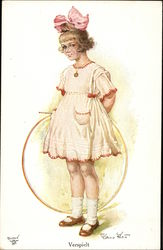 Girl in Large Pink Bow holding a Hoop