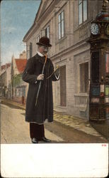 Man Checking his Pocket Watch beside a large Street Clock
