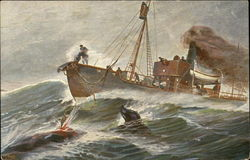 Fishing Boat Spearing Whale on the Waves