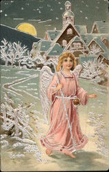 Angel in Pink walking on Snow in the Moonlight