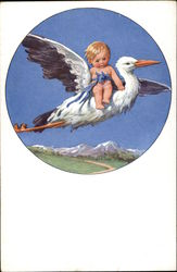 Baby Boy and Flying Stork
