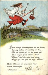 Swedish Easter Witch on Broomstick