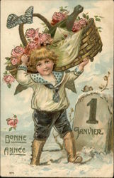 Happy New Year - Boy Carrying Basket of Champagne & Flowers
