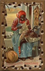 Thanksgiving Greetings with Black Woman Plucking Turkey
