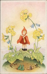 Red Caped Girl standing among Yellow Flowers and Garden Creatures