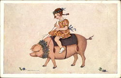 Young Girl Riding a Pig