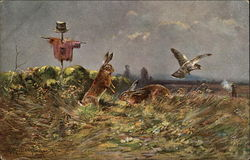 Vegetable Garden Scene with 2 Rabbits, a Bird, and a Hunter