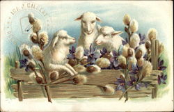 Three Lambs with Flowers