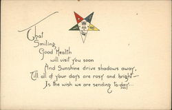 That Smiling Good Health Will Visit You Soon And Sunshine Drive Shadows Away Postcard