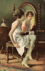 """Mirror, Mirror on the Wall"" - Woman Gazing into Vanity Mirror Postcard"