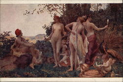 """Judgement of Paris"" - Nude Women & Cherubs Outdoors"