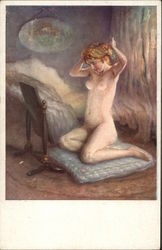 Nude Woman Kneeling on Blue Pillow in Front of Mirror