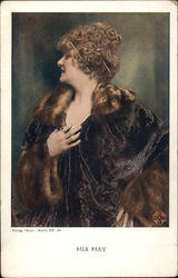 """Mia May"" - Woman in Furs and Jewels Postcard"