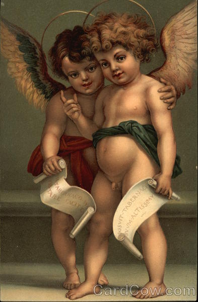 Two Angels with Halos & Scrolls
