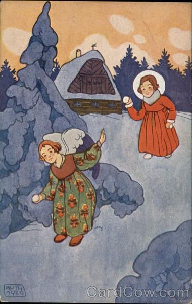 A Girl Throwing Snowballs with an Angel Angels