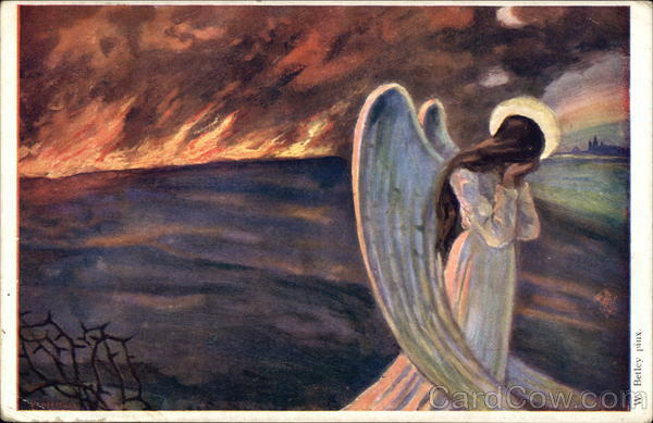 Angel of Peace - Angel Weeping with Fire Raging in Background