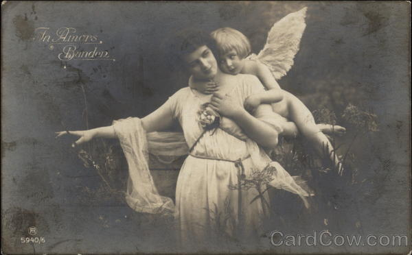 Little Angel Embracing Woman Angels