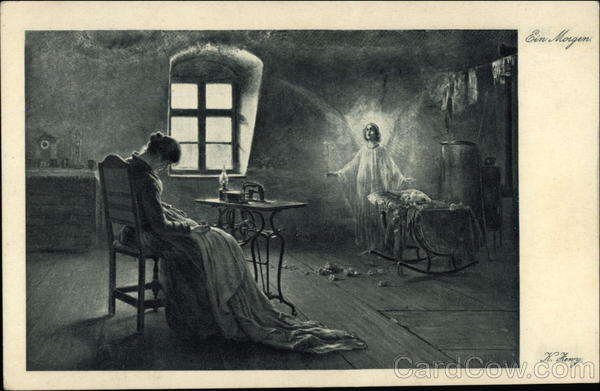 Morning - Woman Asleep in Chair with Angel in the Corner