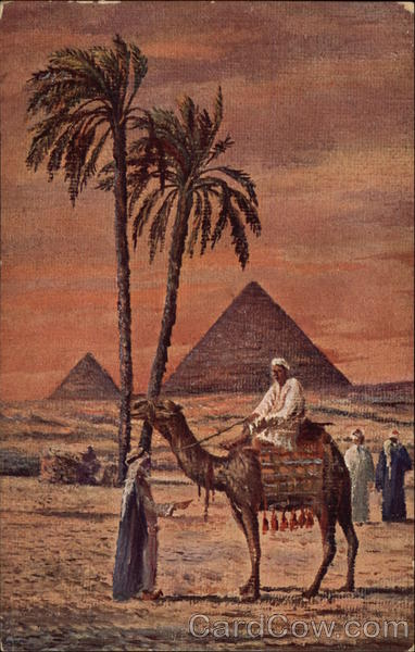 Egyptian Pyramids Palm Trees Camel And Men In The Desert