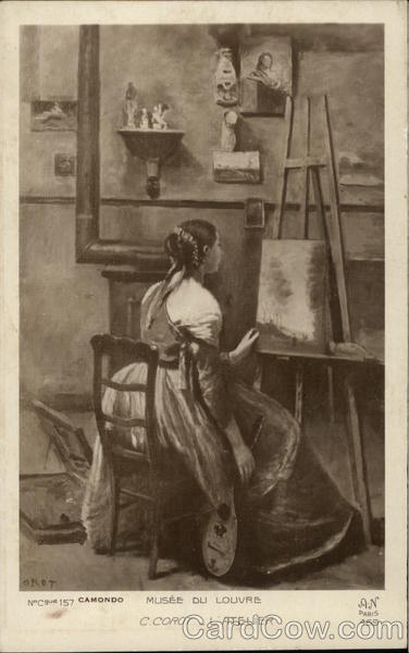 The Workshop - Girl in Art Studio with Painting & Stringed Instrument