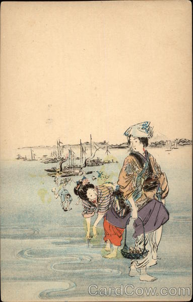 Geisha Girls on the Shore Japan Asian