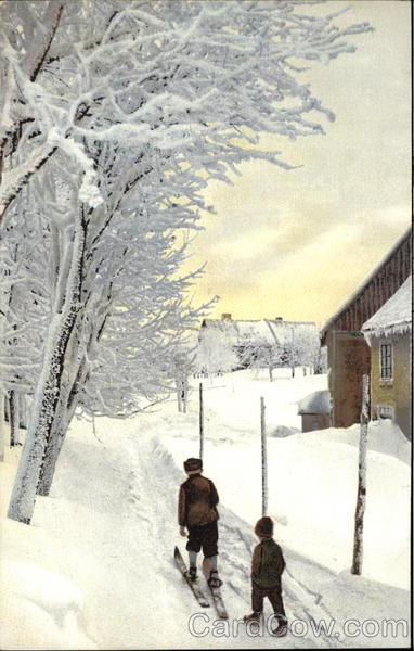 Boys on the Path in Deep Snow