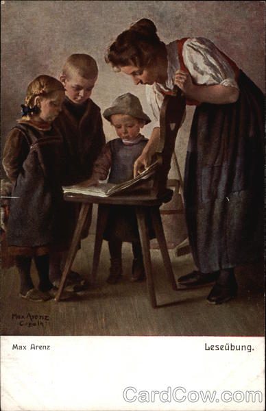 Reading Exercise - Woman with Open Book & Children