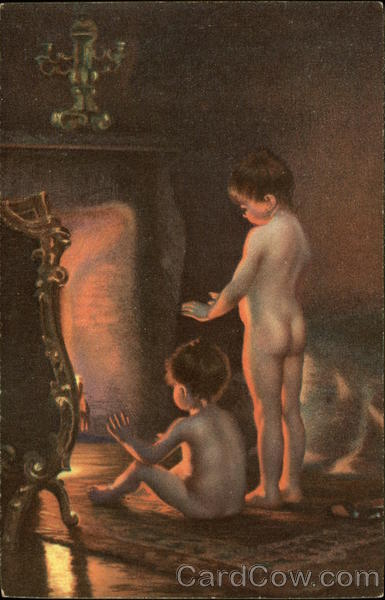 After Bathing - Two Nude Children by the Fire Risque & Nude