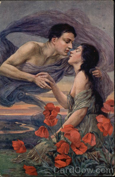 Woman & Male Spirit Embracing Among Red Flowers Risque & Nude