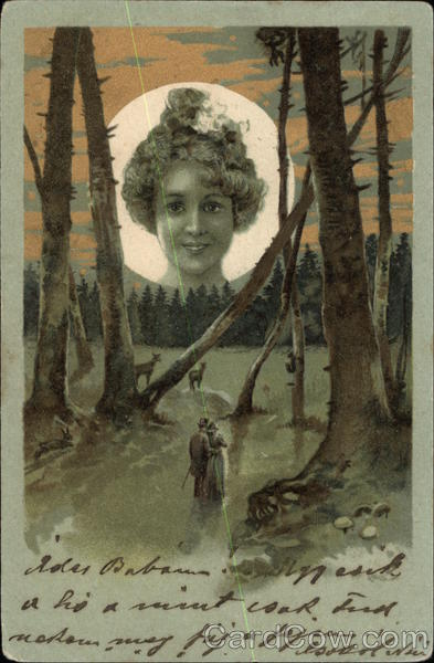 Woman in the Moon above Couple Embracing in the Forest