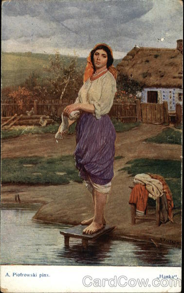 Peasant Woman Washing Clothes in a Stream Women