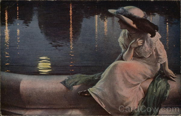 Reflex - Woman Sitting Poolside in the Moonlight