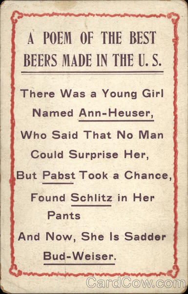 A Poem of the Best Beers Made in the U.S Breweriana