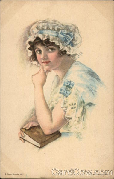 American Girl - Dressed in Blue & White holding a Book