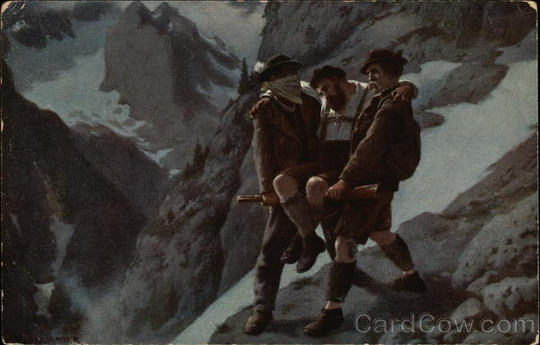 2 Men helping an injured Man on a Mountain