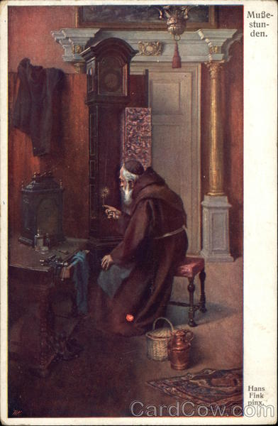Leisure Time - Friar Working on Grandfather Clock