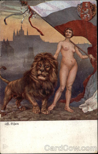 Nude Woman Holding Flag Standing next to Large Lion Antique Postcard