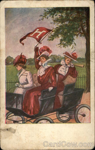 3 Harvard Women in Car F. Earl Christy College Girls