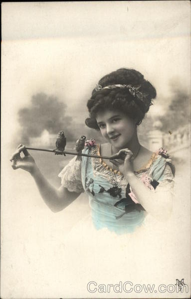 Photograph of Young Girl with Birds on a Perch